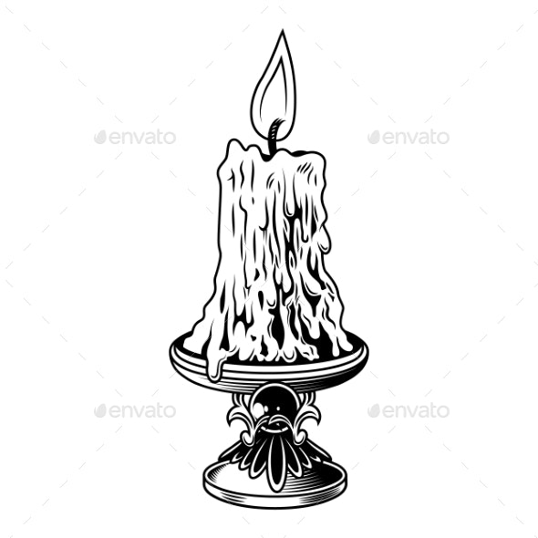 Candle with Flame - Miscellaneous Vectors