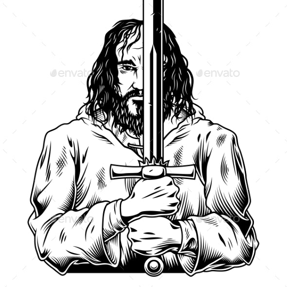 Fantasy Warrior with Sword - Miscellaneous Vectors