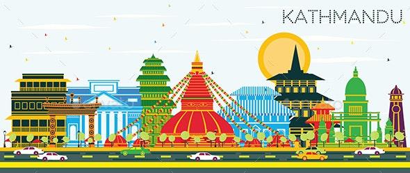 Kathmandu Nepal City Skyline with Color Buildings and Blue Sky. - Buildings Objects