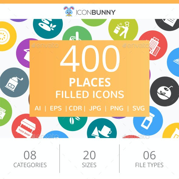 410 Places Filled Round Icons