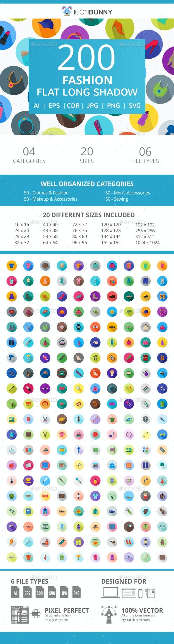200 Fashion Flat Long Shadow Icons - Icons