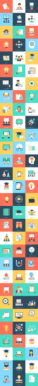 90 Education Flat Icons - Icons