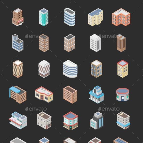50 Isometric Building Icons