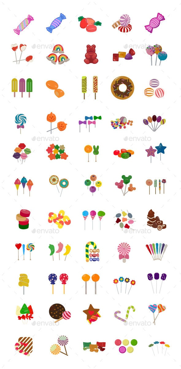 60 Sweet Candy Flat Icons - Icons