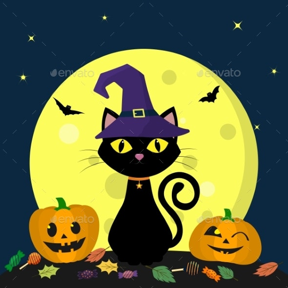 A Halloween Cat in a Witch Hat Sits Against a Full - Animals Characters