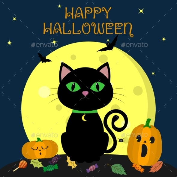 The Halloween Black Cat Sits Against the Full Moon - Animals Characters