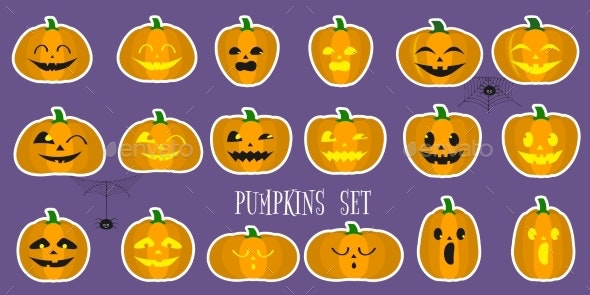 A Set of Halloween Pumpkins - Seasons/Holidays Conceptual