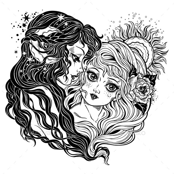 Two Women As Day and Night Union Metaphor Symbol. - People Characters
