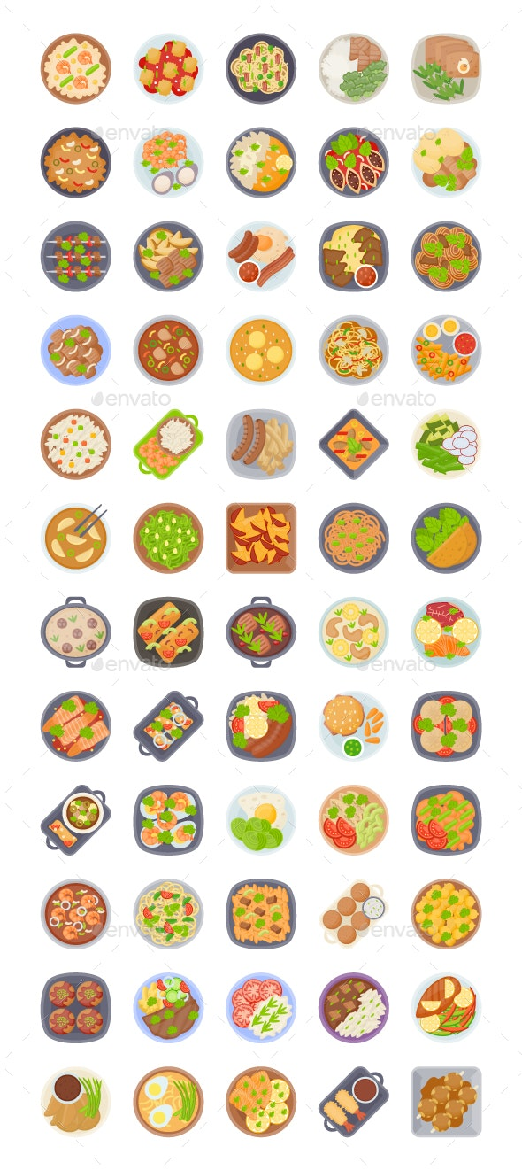 60 Food Dishes Vectors - Vectors