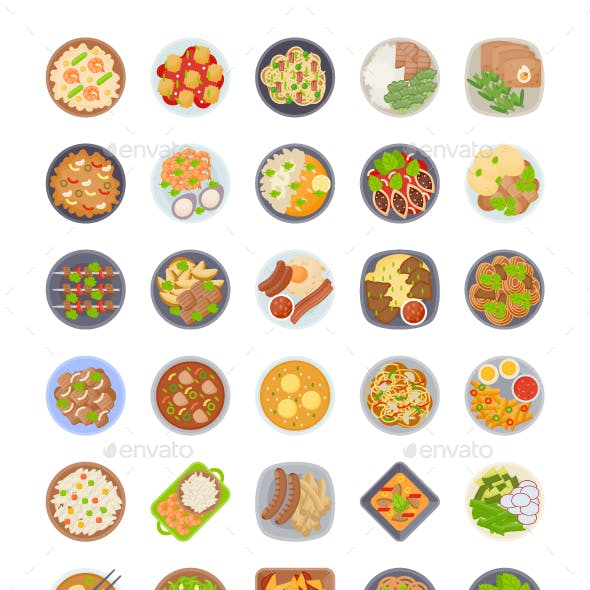 60 Food Dishes Vectors