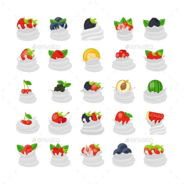 25 Whipped Cream Fruit Vectors - Vectors