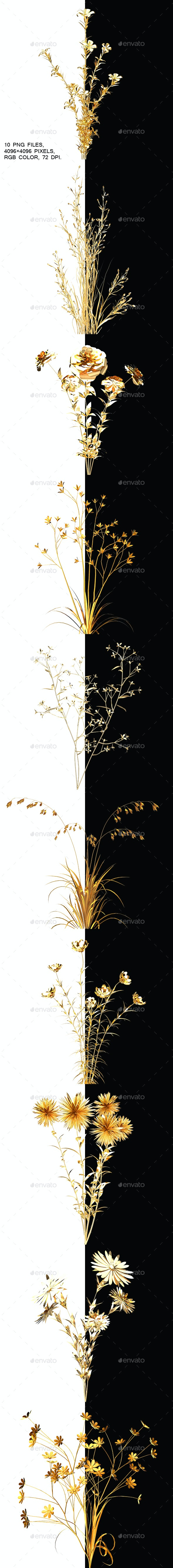 Golden Flowers With Alpha Channel - Objects 3D Renders