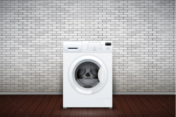 Laundry Room of Brick Wall and Washing Machine - Buildings Objects