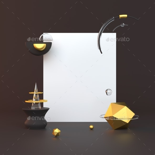 3d Rendered Illustration with Geometric Shapes - 3D Backgrounds