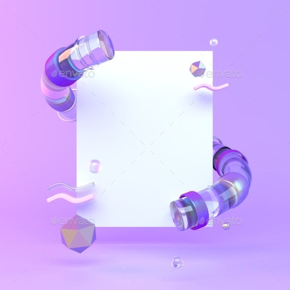 3d Rendered Illustration with Geometric Shapes