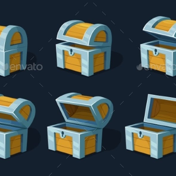 Various Key Frames Animation of Wooden Chest