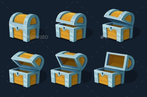 Various Key Frames Animation of Wooden Chest - Objects Vectors