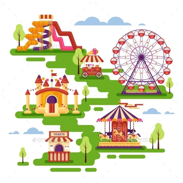Amusement Park Flat Elements with Carousels - Seasons/Holidays Conceptual