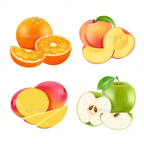Vector Illustrations of Various Fresh Fruits - Food Objects