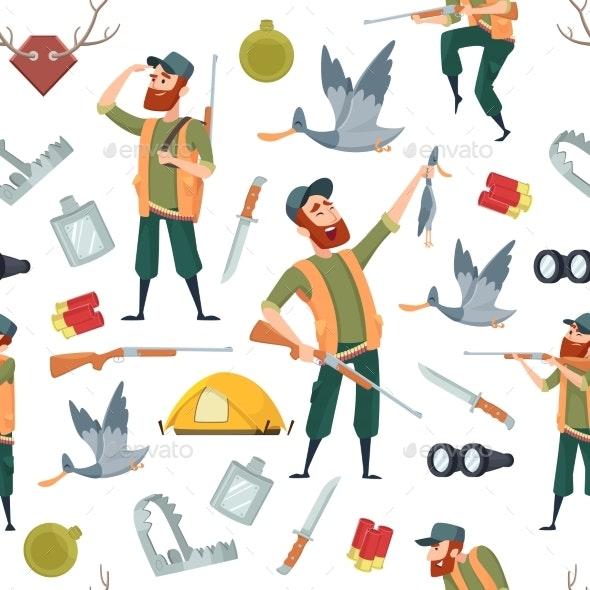 Duck Hunters Pattern.  - Backgrounds Decorative