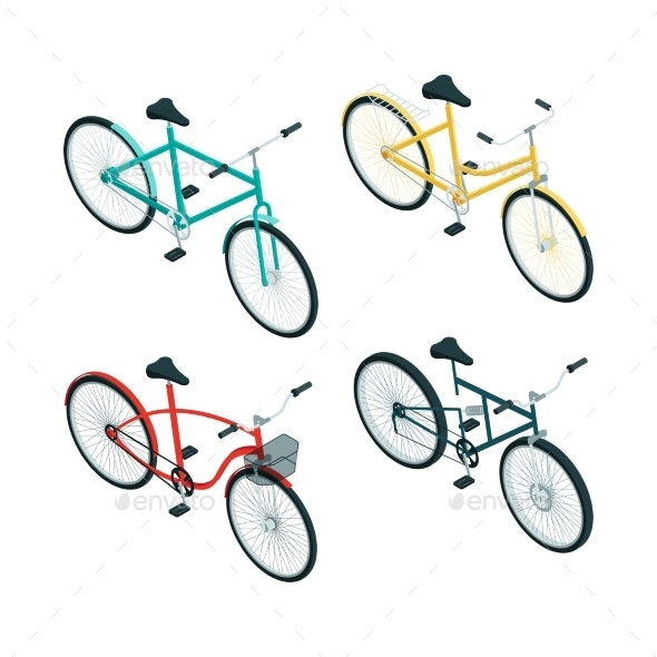 Bicycles Isometric. Various Types of Bikes  - Objects Vectors
