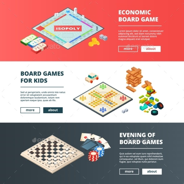 Banners of Board Games. Vector Horizontal Banners - Objects Vectors
