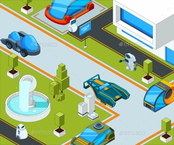 Futuristic City with Transport. City Landscape - Objects Vectors