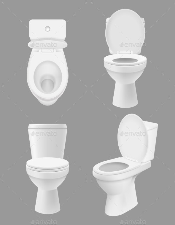 Realistic Clean Toilet - Man-made Objects Objects