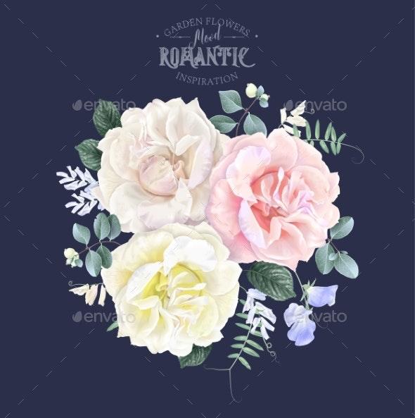 Vector Vintage Floral Banner with Garden Rose - Flowers & Plants Nature