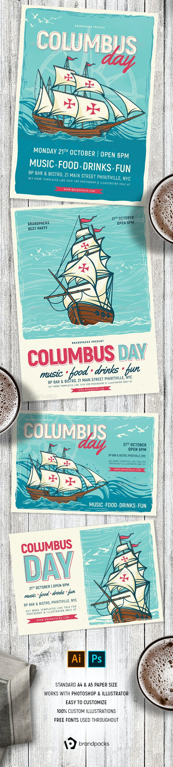 Columbus Day Flyer / Poster Template - Holidays Events