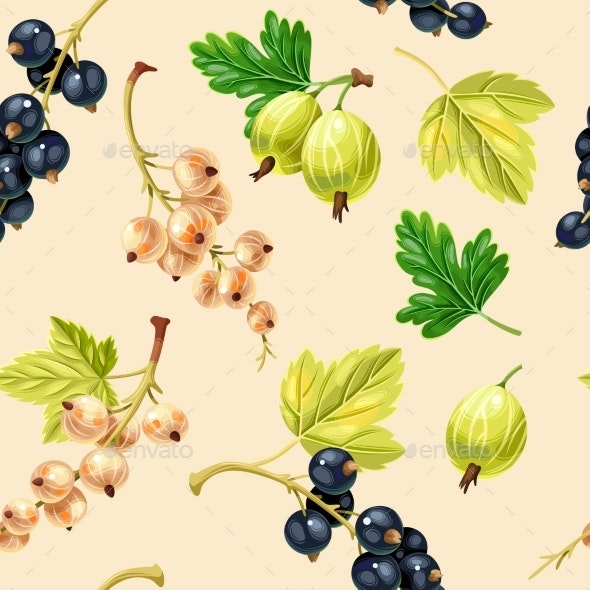 Seamless Pattern Black and White Currant Berries - Food Objects