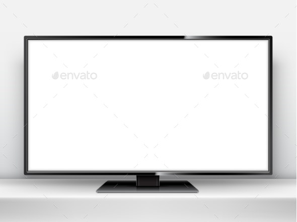 TV Mockup with Blank Screen - Media Technology