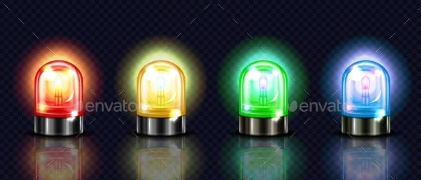 Siren Alarm Color Lights 3D Vector Illustration - Man-made Objects Objects