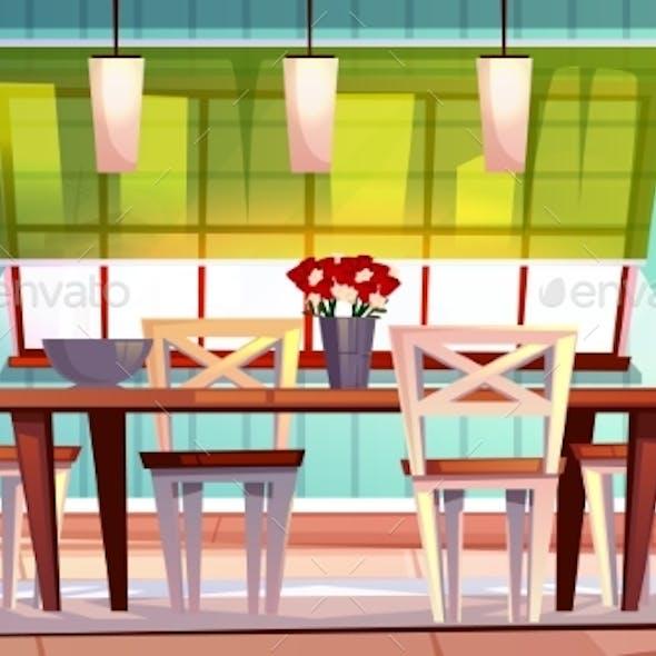 Dining Room Interior Vector Illustration
