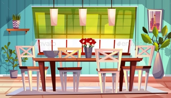 Dining Room Interior Vector Illustration - Miscellaneous Vectors