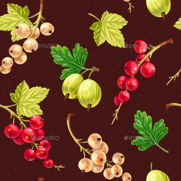 Seamless Pattern White and Red Currant Berries - Food Objects
