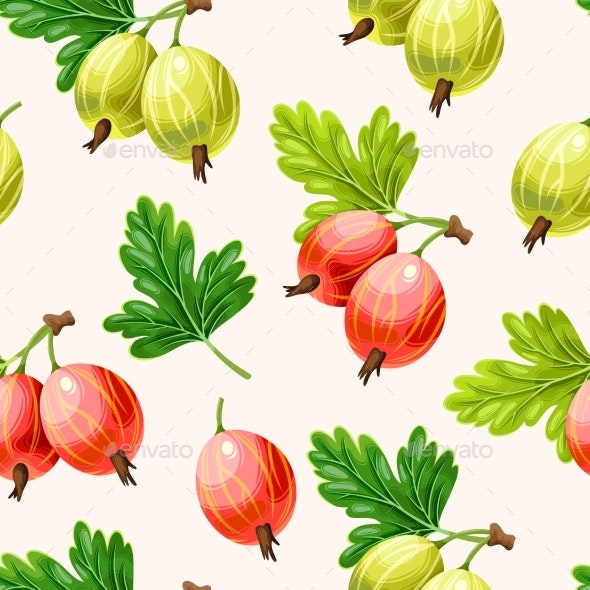 Seamless Pattern with Green and Pink Gooseberry - Food Objects