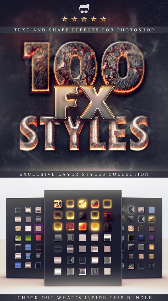 100 Layer Styles Bundle - Text Effects Set - Styles Photoshop