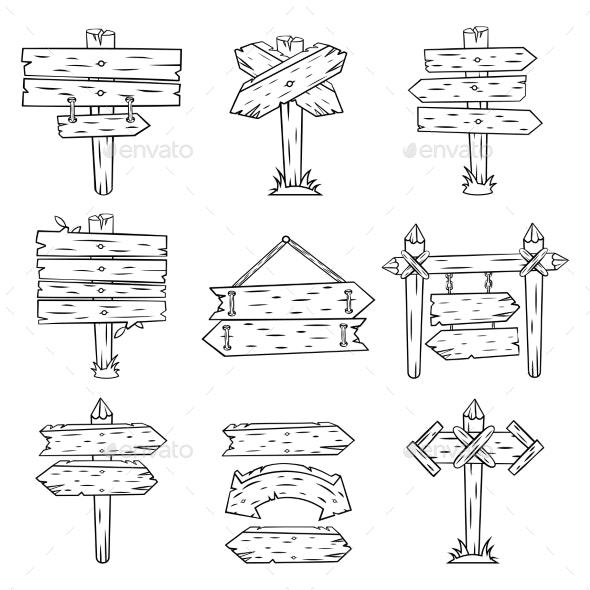 Doodle Wood Signs - Miscellaneous Vectors