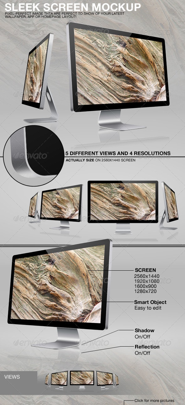 Sleek Screen Mockup - Monitors Displays