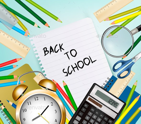 Two Back to School banners With School Supplies. Vector. - Conceptual Vectors