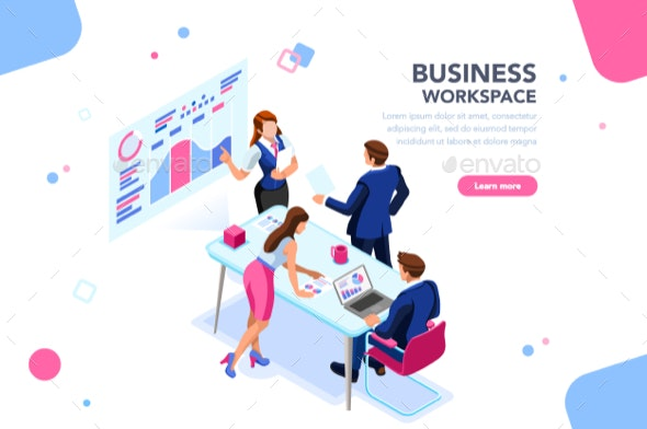 Business Flat Isometric Banner - Concepts Business