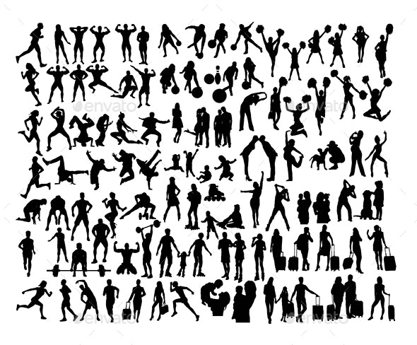 100 More Daily Activity Silhouettes People - People Characters