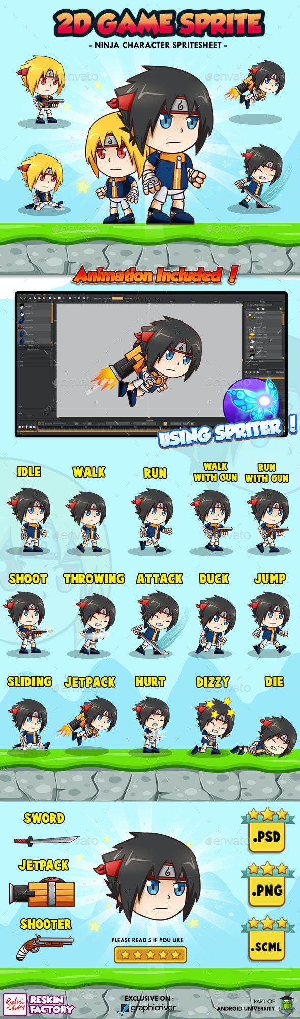 Ninja BeYe - 2D Game Character Sprites - Sprites Game Assets