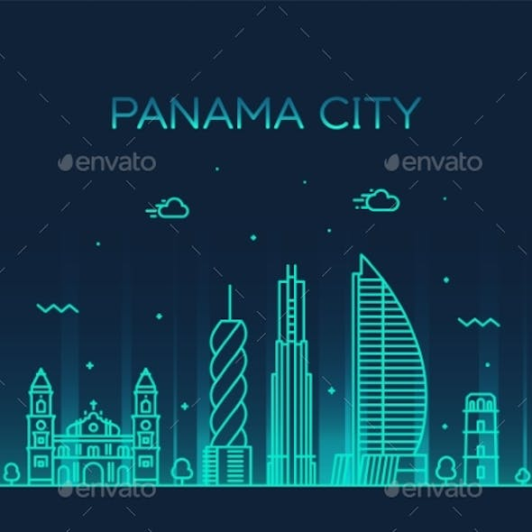 Panama City Skyline Panama Vector Linear Style