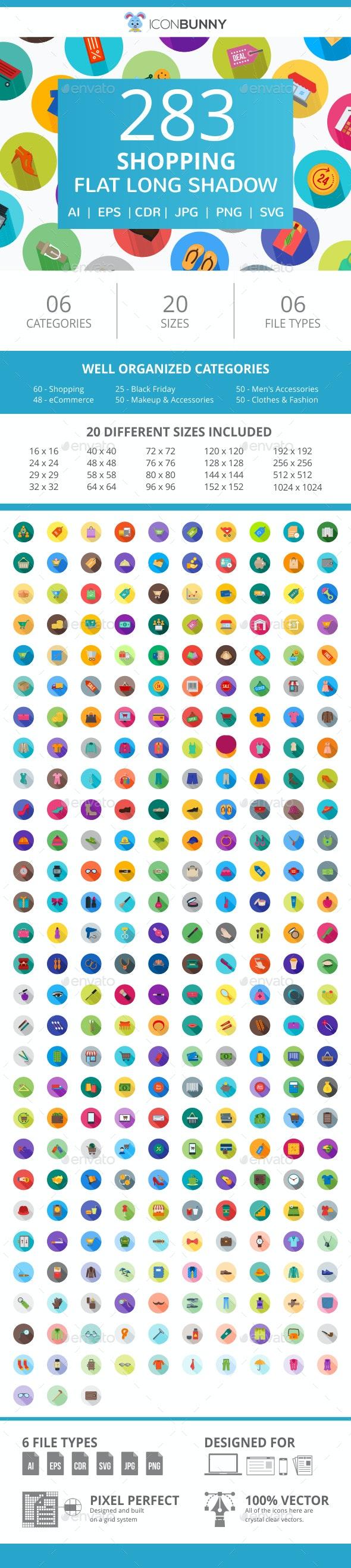 283 Shopping Flat Long Shadow Icons - Icons