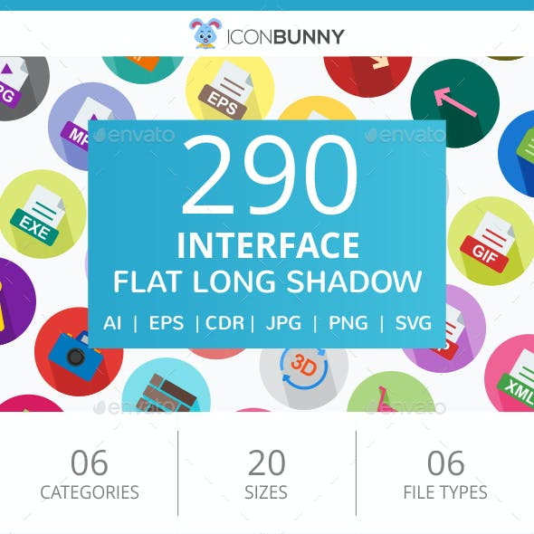 290 Interface Flat Long Shadow Icons