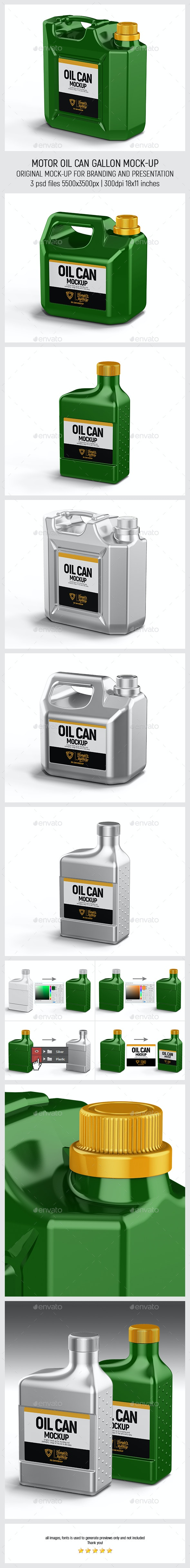 Motor Oil Can Gallon Mockup - Miscellaneous Packaging