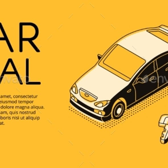 Car Trade Service Vector Halftone Illustration