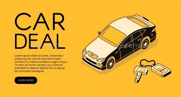 Car Trade Service Vector Halftone Illustration - Industries Business